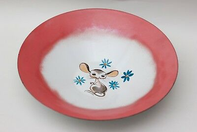 Thelma Winter very large green enamel bowl with a mouse, USA