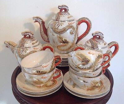 Vintage Japanese KUTANI Porcelain Dragon Ware 18 Pc. Tea Set Lithophane Geishas