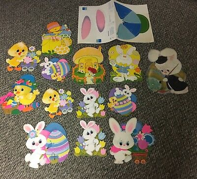 Vtg Hallmark Easter Bunny Eggs Chicks Die Cut Decorations Posters Lot Painter