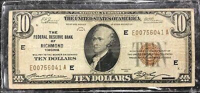1929 $10 Richmond, Va U.s. National Currency Note Brown Seal~ Vg Condition! Nr!