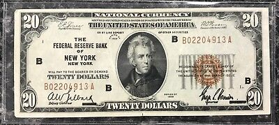 1929 $20 New York, Ny U.s. National Currency Note Brown Seal~Vf Condition! Nr!