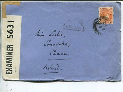 Nigeria double censor cover to Ireland 1941
