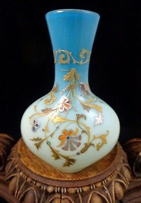 Antique Victorian Bohemian Harrach Blue Rococo Hand Painted Art Glass Vase UV+