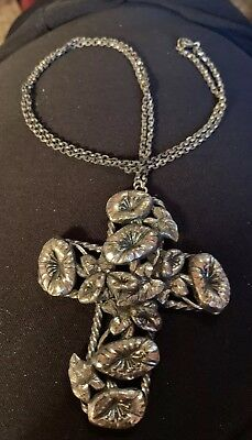 Cross Vintage  Silver Cross With Lillies 3 Inch Cross On 24 Inch Chain