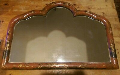 Antique 19th Century Lacquer Wall Mantle Mirror Japanese / Chinese / Chinoiserie
