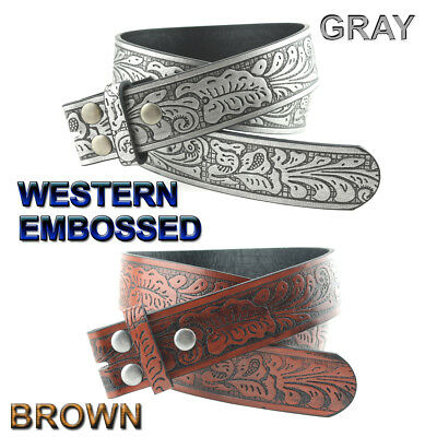 Western Embossed Bonded Leather Belt Strap 1-1/2'' Wide Brown Or Gray Nwt