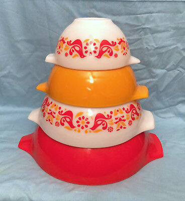 Vintage Pyrex Red Cinderella Mixing Bowls Set of 4 Nesting Friendship Birds