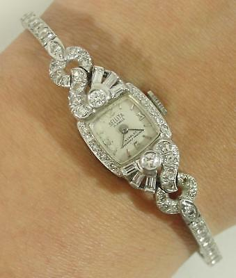 Antique Ladies Sellita Swiss Art Deco 14kt White Gold & 71 Diamond Wristwatch NR