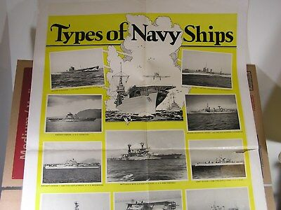 ORIGINAL World War II Poster - TYpes of Navy Ships LARGE - dated 1930???