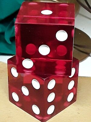 """Vintage Old 2 Large Jumbo Cherry Red Dice Lucite rare 2"""" pair"""