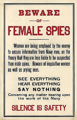 Beware of Female Spies Military Man Cave Wall Poster Print 1917 WWI World War 1