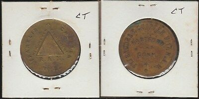 Connecticut, Lot of 2 Masonic Tokens, New Haven and Hartford