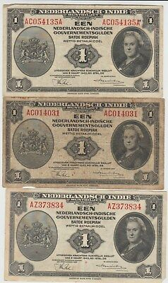 Dutch East Indies, Lot of 3 One Gulden Banknotes, 1943
