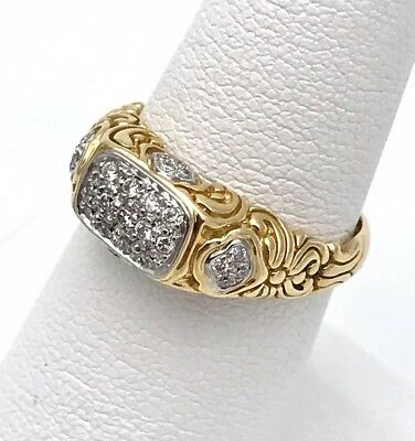 John Hardy 18k Yellow Gold Well-Made Designer  Pave Diamond Ring Size7