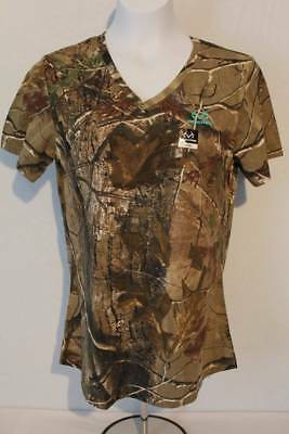 a6b78d6660ce4 Womens Realtree AP T Shirt Camouflage Large Top Deer Hunting Camo Bow V  Neck New