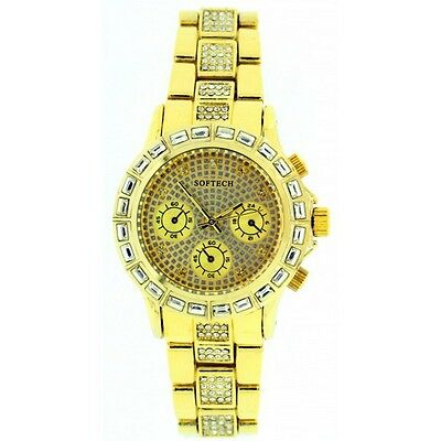 983a5e2f2a14 Softech Diamante Dial   Bracelet Designer Gold Plated Watch Analog Quartz