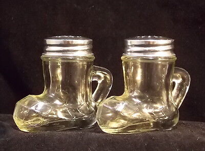 Vintage Collectible Clear Glass Boot Santa Boot Salt & Pepper Shakers