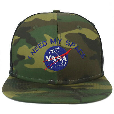 dcd52595a OVERSIZE XXL NASA I Need My Space Embroidered Camouflage Flatbill Snapback  cap