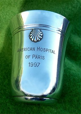 """WEIGHTY FRENCH SILVER BEAKER / KIDDUSH CUP """"AMERICAN HOSPITAL OF PARIS"""" -3.15ozt"""