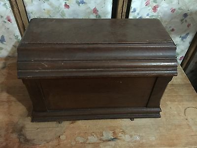 Antique Domestic Sewing Machine  Wood Cover Coffin