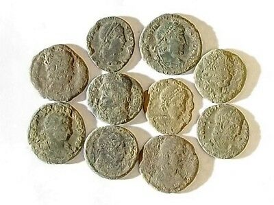 10 ANCIENT ROMAN COINS AE3 - Uncleaned and As Found! - Unique Lot 34402