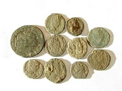 10 ANCIENT ROMAN COINS AE3 - Uncleaned and As Found! - Unique Lot 34303
