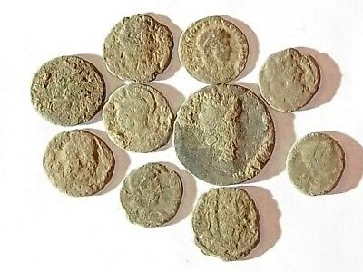 10 ANCIENT ROMAN COINS AE3 - Uncleaned and As Found! - Unique Lot 34401