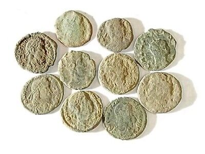 10 ANCIENT ROMAN COINS AE3 - Uncleaned and As Found! - Unique Lot 33802