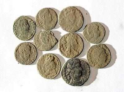 10 ANCIENT ROMAN COINS AE3 - Uncleaned and As Found! - Unique Lot 31921