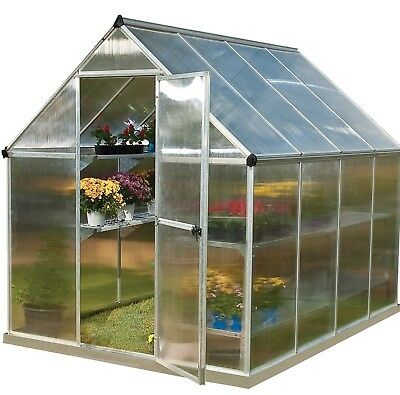 6x4 6x6 6x8 10x6 PALRAM MYTHOS SILVER GREENHOUSE GARDEN FREE BASE TWIN WALLED