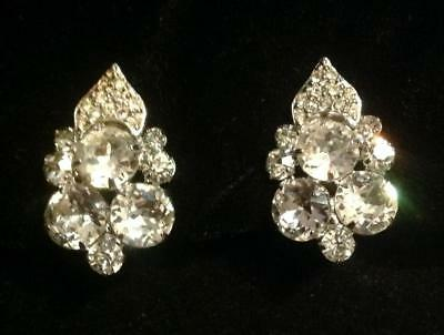 Vintage Signed WEISS Silver Tone Prong Set Clear Round Pave Earrings Xmas Tree