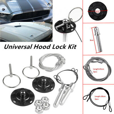 Hood Pin Appearance Kit Universal CNC Billet Aluminum With Rings Mounting Screws