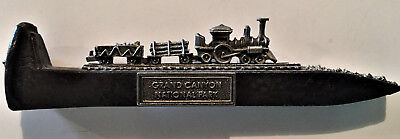 Grand Canyon Natl Park Souvenir Railroad Spike W/ Pewter Train & Gold Dust Bed