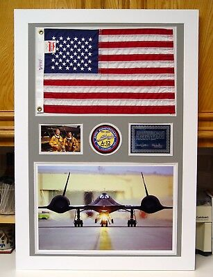 SR-71 Blackbird Large Flown Flag One-of-a-Kind Display w/ Patch & Plaque