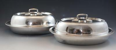 Pr Art Deco 1920s Gorham Silver Plate Covered Oval Serving Chaffing Dishes