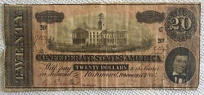 1864 Civil War $20 Richmond VA Confederate Bank Note Green Back Currency