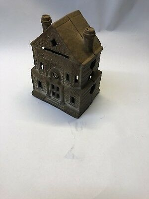 Vintage Antique Cast Iron Still Coin Bank Toy House