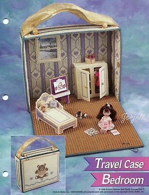 Travel Case Bedroom ~ fits Kelly dolls, Annie's plastic canvas pattern leaflet