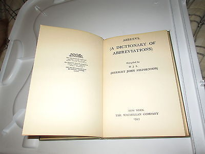 1943 A Dictionary of Abbreviations by Herbert John Stephenson Hardcover American
