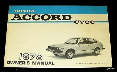Honda Accord Cvcc 1978 Automobile Owner's Manual Illustrated Guide