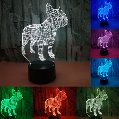 3D LED Night Light 7 Colors Hologram Decor Table Lamp French Bulldog Xmas Gift
