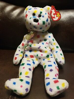 Retired Original Beanie Baby - Ty 2K - Confetti - With Tag Errors