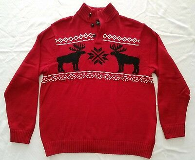 dc944363aff7 CHAPS MENS RED BLACK Fair Isle Christmas Holiday Pullover Sweater ...