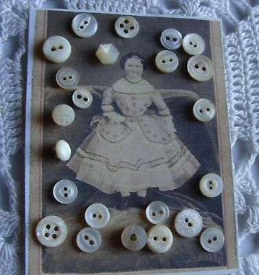 Tiny Mother of pearl Buttons for Antique China Head Doll Clothes