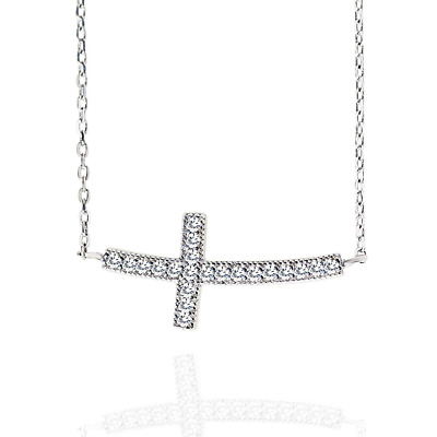 Spoil Cupid Rhodium Plated 925 Sterling Silver Cubic Zirconia Curved Sideways Cr
