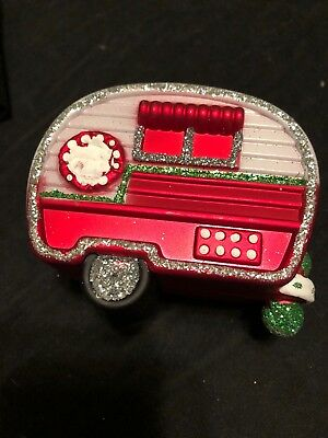 """New 3 1/4 """" Shatterproof Christmas Tree Decorated Camper Ornament"""