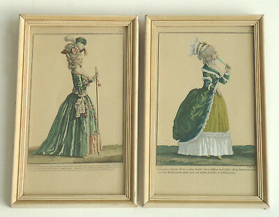 Late 18th Century French Hand Colored Fashion Prints Pierre-Thomas LeClerc