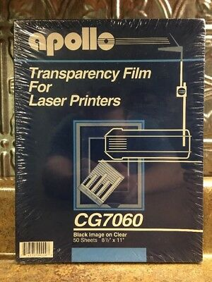 Apollo Laser Jet Printer and Copier Transparency Film, 50 Sheets (CG7060), New,