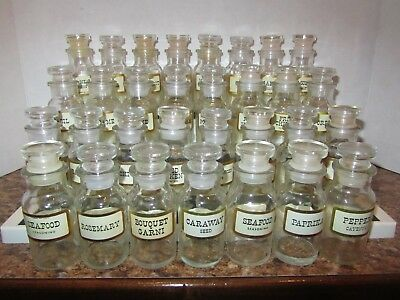 Lot of 31 Vintage Wagner Glass Spice Jars with Lids