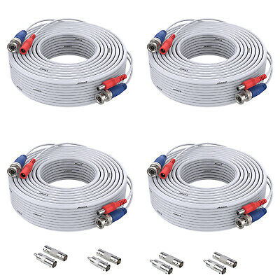 SANNCE 4X 30m 100ft BNC DC Video Cable Power Cords For CCTV DVR Security Camera